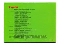 Original Canon FD Lens Wonderland Guide Book (Booklet, Brochure with Specifications), English 1982